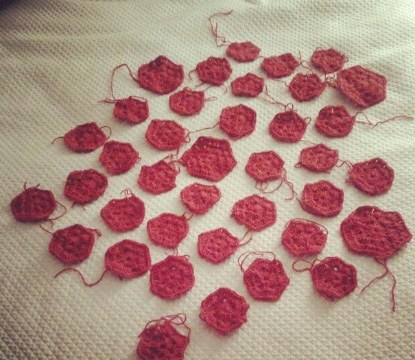 Red crochet hexagons